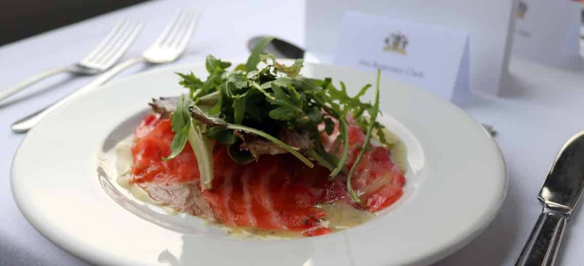 Beetroot Cured Salmon with Soured Cream & Caviar | Viscount Cruises