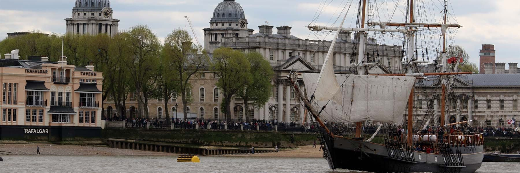 Tall Ship Earl of Pembroke passing the Old Royal Naval College