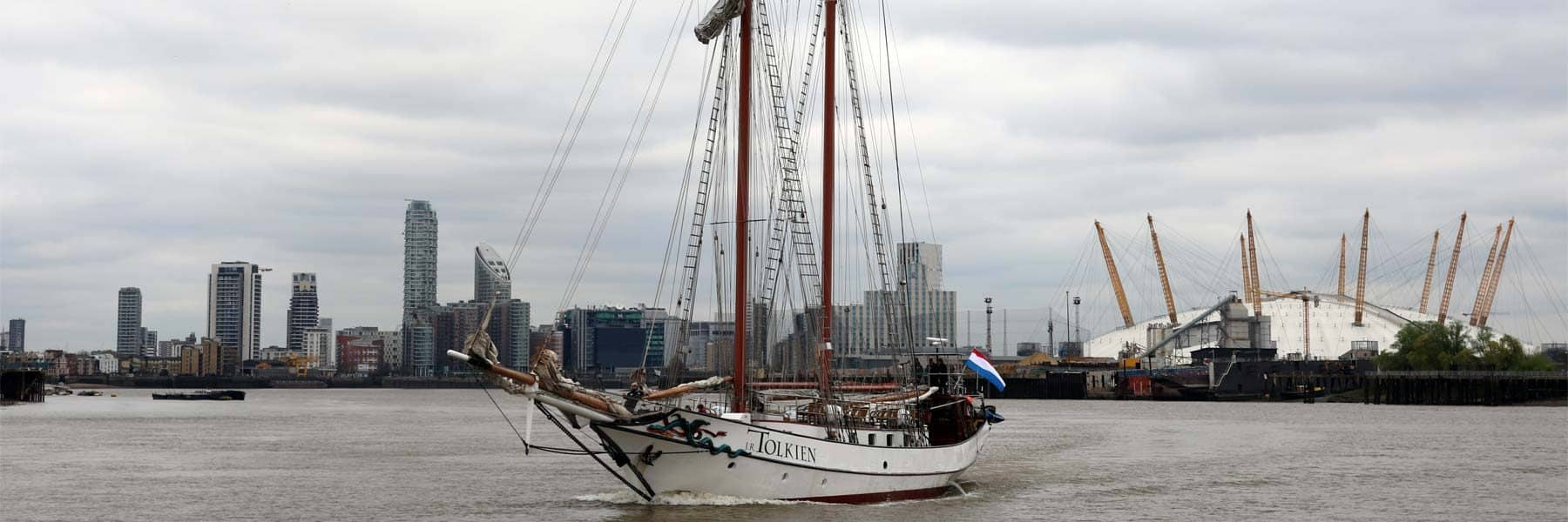 Tall Ship J. R. Tolkien approaching the Royal Borough of Greenwich