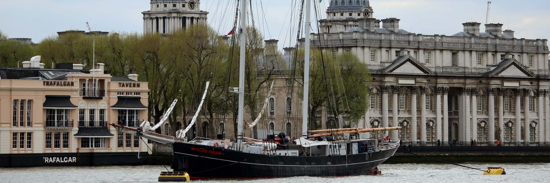 Tall Ship Wylde Swan moored in-front of the Old Royal Naval College